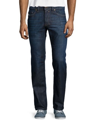 Safado Clean-Wash Straight Denim Jeans, Dark Blue