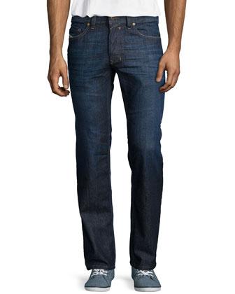 Safado Clean-Wash Straight Denim Jeans, Dark Blue