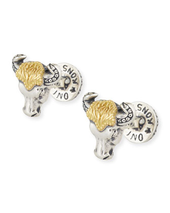 Minos Sterling/18k Bull Head Cuff Links