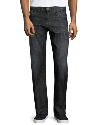 Geno Relaxed-Leg Faded Denim Jeans, Black/Gray