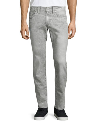 Geno Acid Wash Relaxed-Leg Jeans, White/Gray