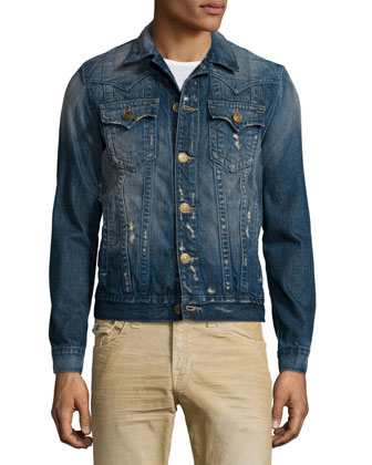 Jimmy Western-Style Distressed Denim Jacket, Medium Blue