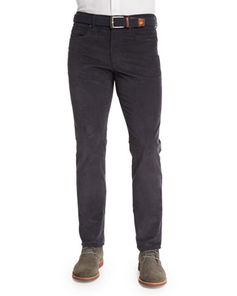 Ray Washed Moleskin Slim-Fit Pants, Charcoal