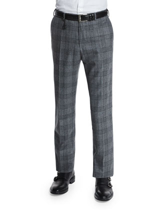Standard-Fit Plaid Flannel Trousers, Gray
