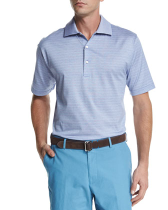 Callicut Striped Short-Sleeve Polo Shirt, Light Purple