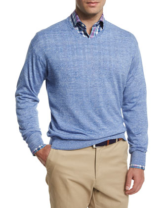 Wool-Blend V-Neck Sweater, Navy