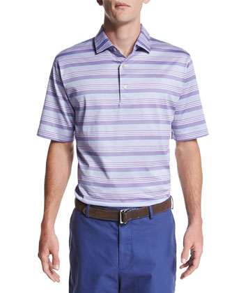 Glass-Stripe Short-Sleeve Polo Shirt, Purple