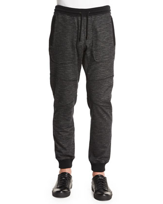 Marled Fleece Sweatpants, Black
