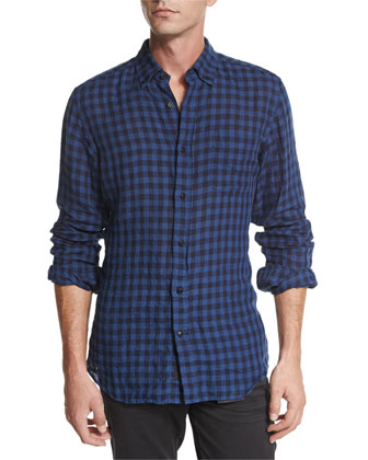 Stan Check Long-Sleeve Shirt, Navy/Black