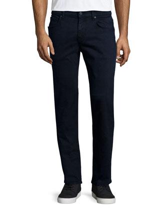 Luxe Performance: Straight-Leg Sateen Jeans, Midnight