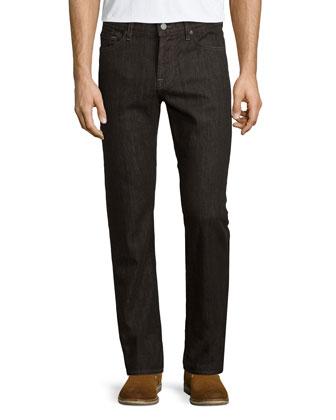 Slimmy Cashmere-Blend Denim Jeans, Brown