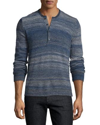 Space-Dye Long-Sleeve Henley Shirt, Navy