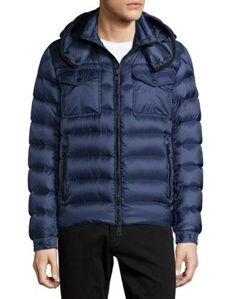 Edward Hooded Puffer Jacket, Blue