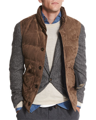Quilted Suede Vest, Brown