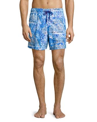 Moorea Hotel-Print Swim Trunks, Blue Pattern
