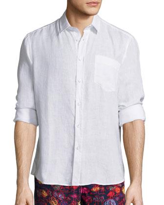 Linen Long-Sleeve Shirt, White