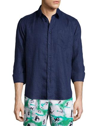 Linen Long-Sleeve Shirt, Bleu Marine