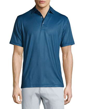 Mini Dot-Print Short-Sleeve Polo Shirt, Midnight