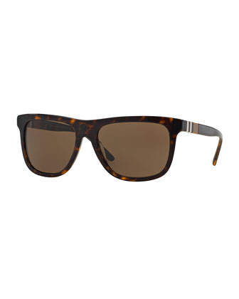 Men's Rectangular Sunglasses with Check Detail
