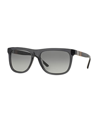Men's Rectangular Sunglasses with Check, Gray