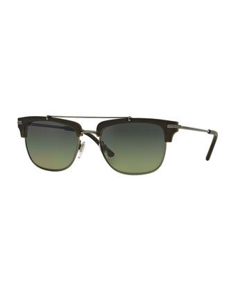 Half-Rimmed Square Sunglasses, Olive