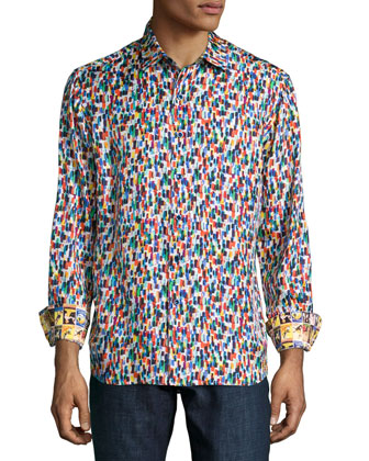 Champagne Toast Printed Sport Shirt, Multi