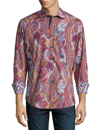 Wine Chestnuts Paisley-Print Sport Shirt, Red Pattern