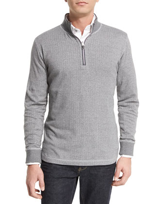 Alastor Chevron-Print Half-Zip Sweater, Heather Gray