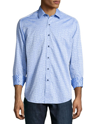 Cullen Jacquard Long-Sleeve Sport Shirt, Light Blue