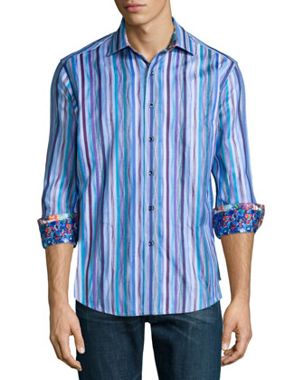 Cozumel Striped Long-Sleeve Sport Shirt, Light Blue