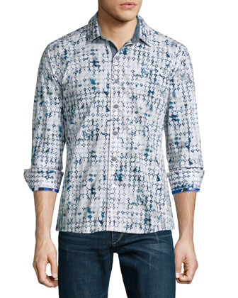 Diamond-Pattern Long-Sleeve Sport Shirt, White