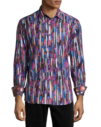 Mt. Crumpet Abstract-Print Sport Shirt, Multi