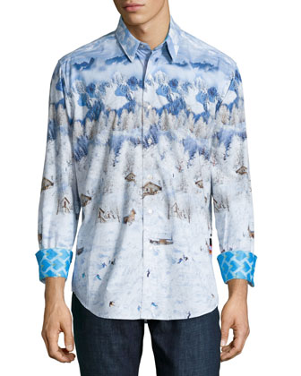Limited Edition Penguin Long-Sleeve Sport Shirt, Multi
