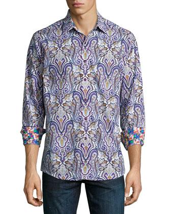 Saint Kitts Paisley-Print Sport Shirt, Multi
