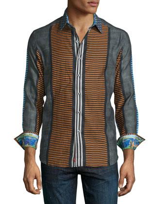 Taormina Striped Long-Sleeve Sport Shirt