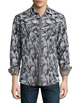 Limited Edition Camo-Print Sport Shirt, Charcoal