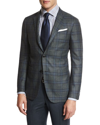 Plaid Two-Button Sport Coat, Box Check Dress Shirt & Trofeo Flat-Front ...