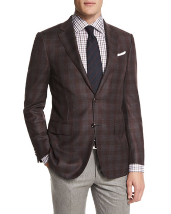 Plaid Two-Button Wool Sport Coat, Burgundy/Gray