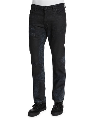 Resin-Coated Distressed Denim Jeans, Black
