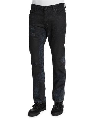 Resin-Coated Distressed Denim Jeans, Black