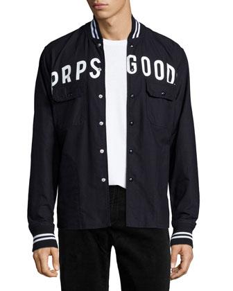 Logo Button-Front Shirt jacket, Black