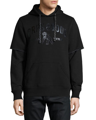 Logo-Front Brushed Terry Knit Hoodie, Black