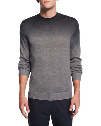 Remsey Dip-Dye Crewneck Sweater, Gray Heather