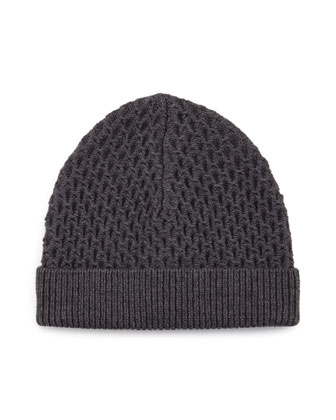 Cannan Textured Wool Beanie Hat, Storm Heather