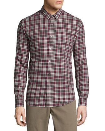 Zack Plaid Long-Sleeve Sport Shirt, Pomegranate Multi