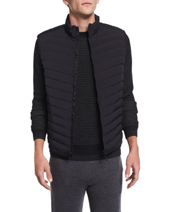 Corick Lightweight Puffer Vest, Aster Textured Crewneck Sweater & Preston ...