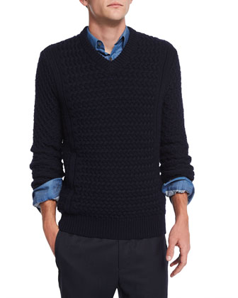 Agnoss Textured Cable-Knit Sweater, Eclipse
