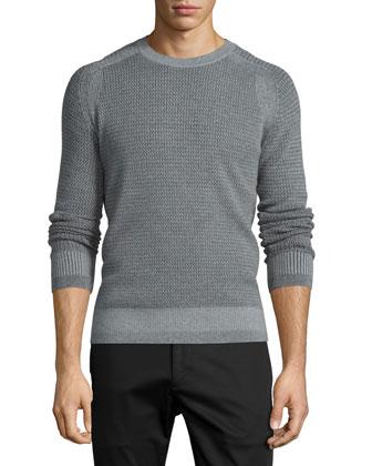 Aster Textured Raglan-Sleeve Sweater, Concrete Heather