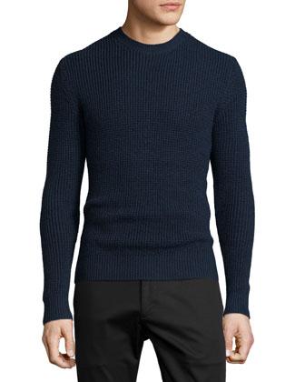 Edon Waffle-Knit Crewneck Sweater, Stormed