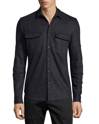 Dakoto Long-Sleeve Wool-Blend Shirt, Storm Heather